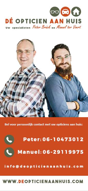 Afbeelding van de voorkant van de folder van Dé Opticien aan Huis ter verspreiding voor een oogmeetmiddag bij uw organisatie.